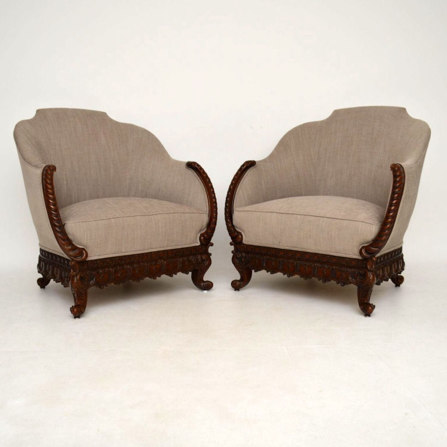 Pair of Antique Swedish Carved Mahogany Armchairs
