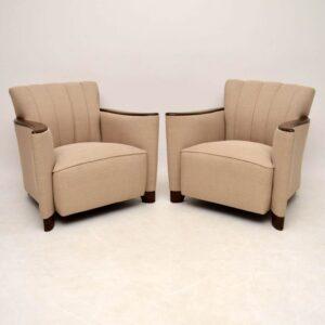 Pair of Art Deco Swedish Satin Birch Armchairs