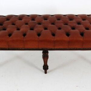 Antique William IV Mahogany and Deep Buttoned Leather Stool
