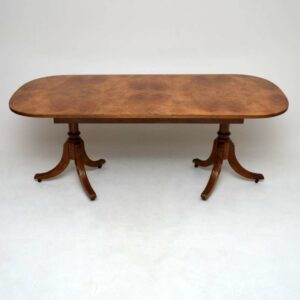 Antique Burr Maple & Walnut Dining Table plus 6 Chairs