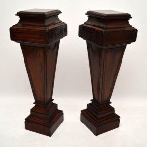 Pair of Large Antique Mahogany Columns - Pedestals