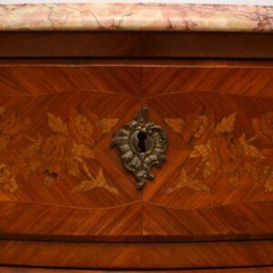 Antique French Marble Top Bombe Commode Chest with Marquetry & Ormolu