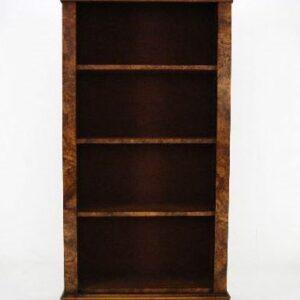 Reconstructed Antique Victorian Burr Walnut Open Bookcase