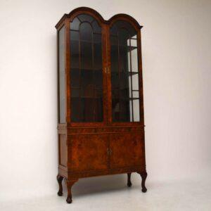 Antique Queen Anne Style Burr Walnut Display Cabinet