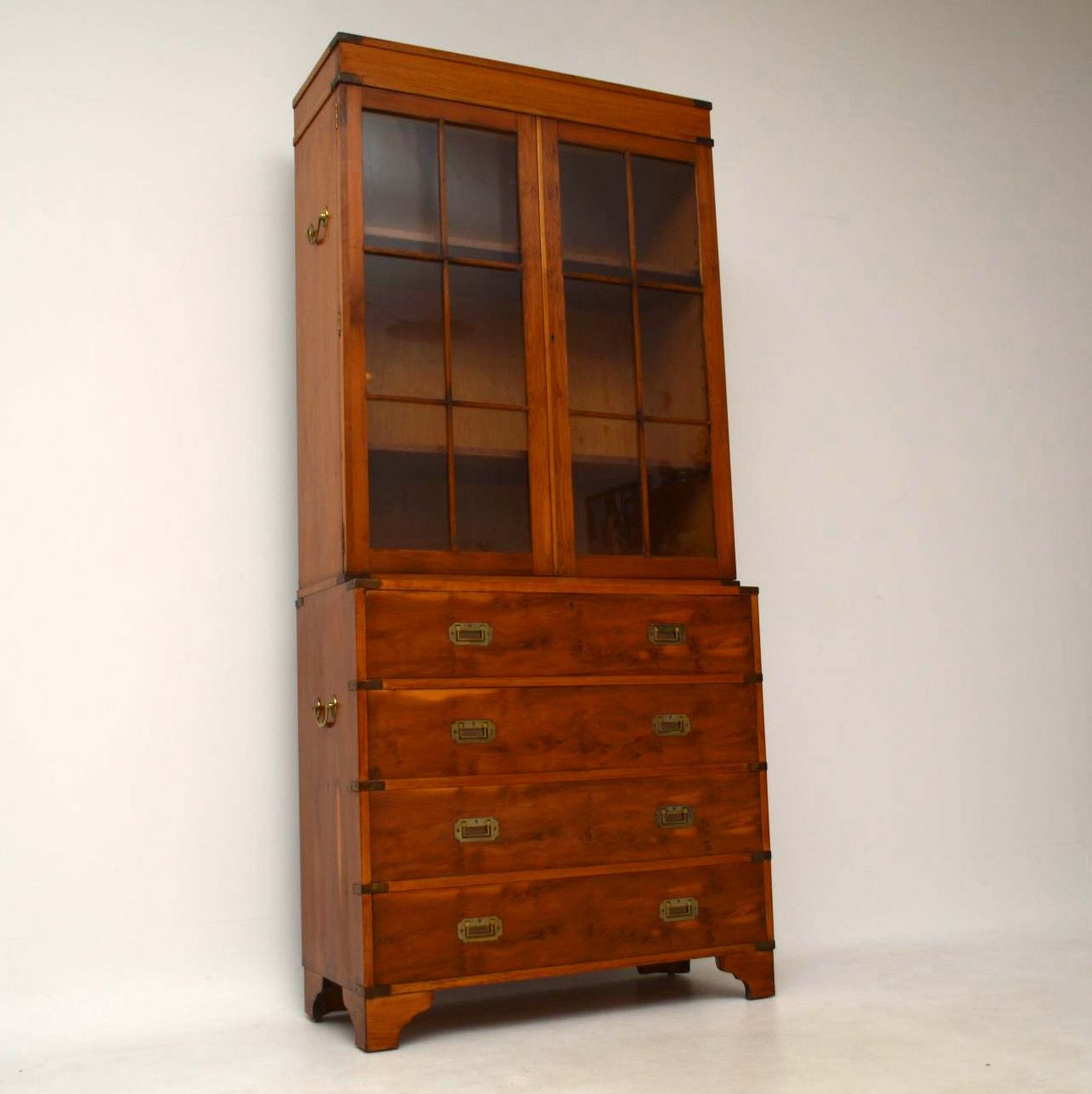 Antique Campaign Style Yew Wood Secretaire Bookcase