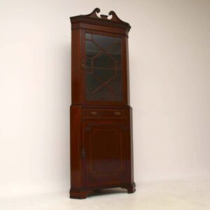 Antique Edwardian Inlaid Mahogany Corner Cabinet