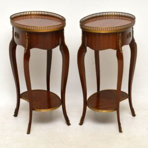 Pair of Antique French Inlaid Parquetry Side Tables