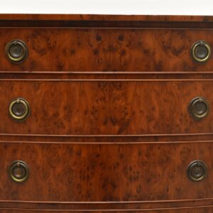 Antique Burr Yew Bow Front Chest of Drawers