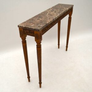 Antique French Marble Top Gilt Wood Console Table