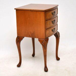 Antique Burr Walnut Bedside Cabinet