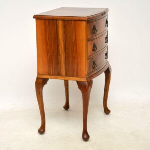 Antique Burr Walnut Bedside Cabinet / Side Table