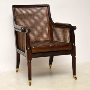 Antique Leather & Caned Mahogany Armchair