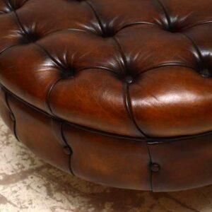 Unique Antique Victorian Deep Buttoned Leather Chaise Lounge