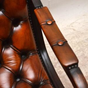 Antique Regency Style Deep Buttoned Leather & Mahogany Armchair