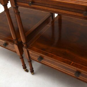 Pair of Antique Yew Wood Side or Lamp Tables