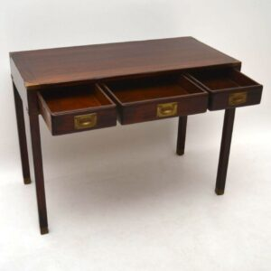 Antique Mahogany Campaign Style Writing Table / Desk