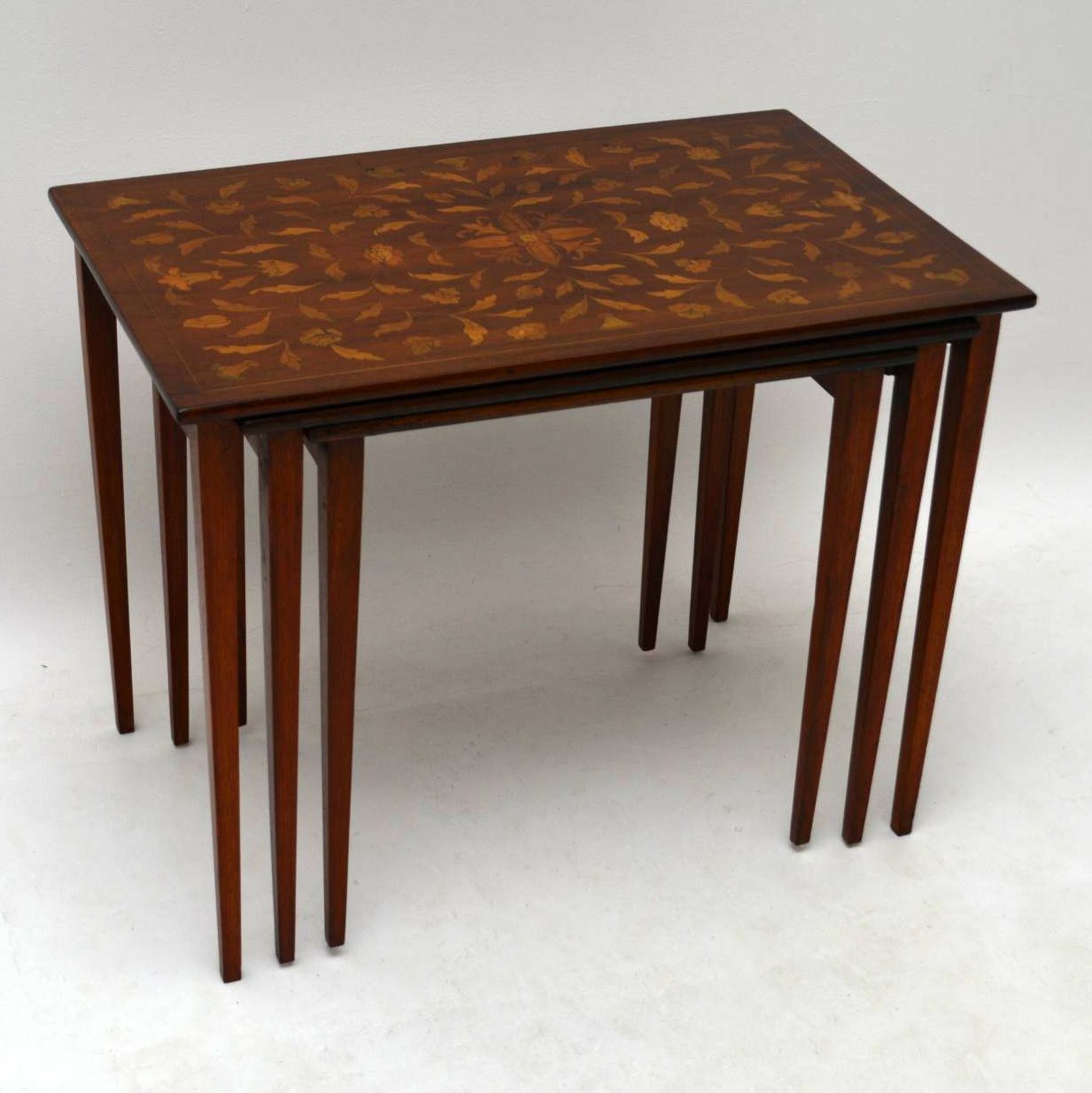 Antique 19th Century Dutch Marquetry Nest of Tables