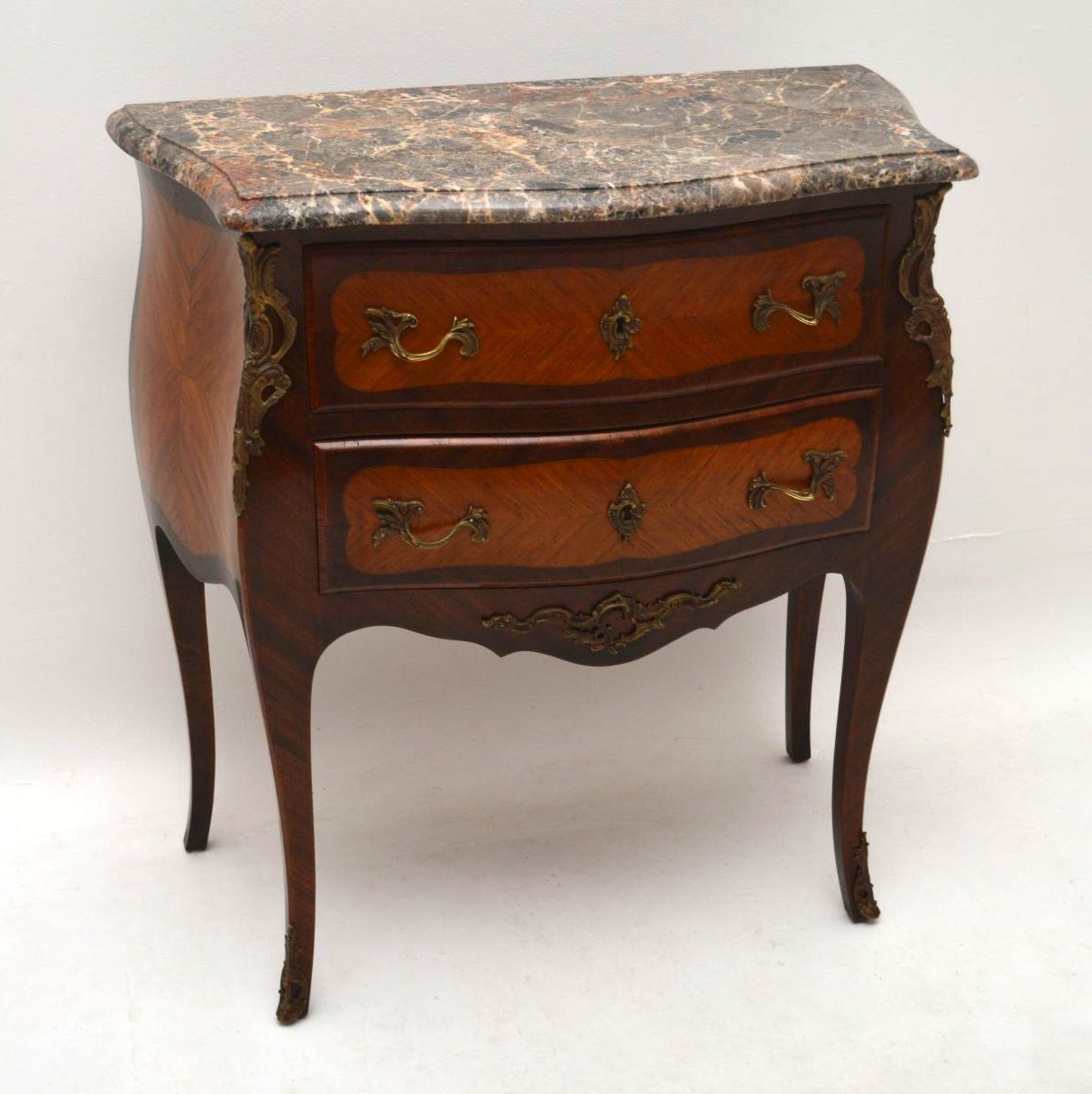 Antique French Marble Top Bombe Commode