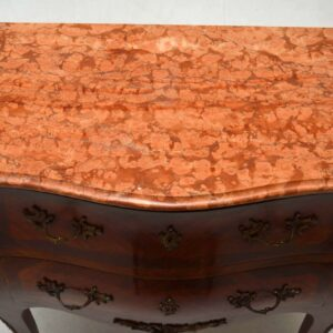 Antique French Kingwood Marble Top Bombe Commode