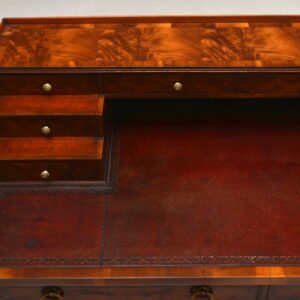 Antique Yew Wood Leather Top Writing Table Desk