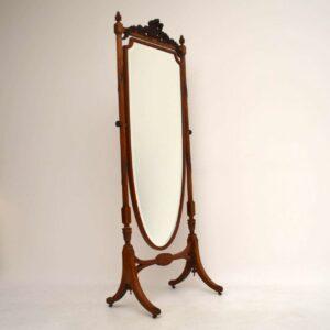 Antique Edwardian Satin Wood Cheval Mirror