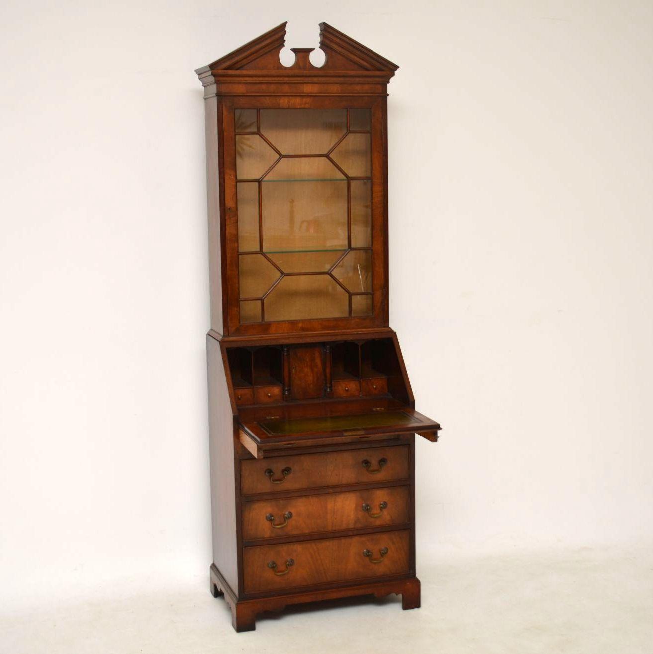 Slim Antique Mahogany Bureau Bookcase