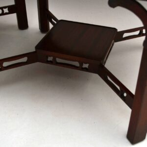 Pair of Antique Chippendale Style Mahogany Lamp Tables