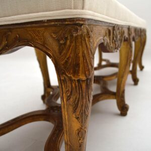 Long Antique French Gilt Wood Stool