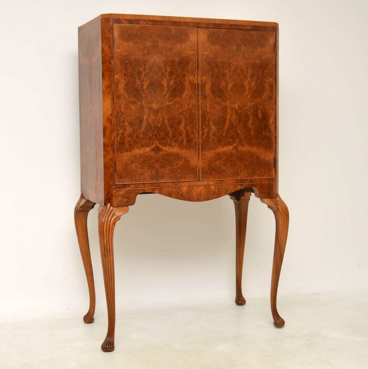 Antique Burr Walnut Cocktail Cabinet