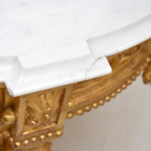 Antique French Marble Top Gilt Wood Centre Table