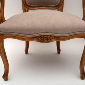 Pair of Antique French Carved Walnut Salon Armchairs