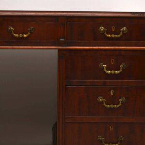 Large Antique Mahogany Pedestal Desk
