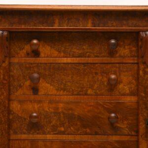 Antique Victorian Burr Walnut Wellington Chest