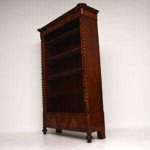 Antique Flame Mahogany Open Bookcase