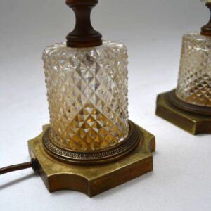 Pair of Antique Crystal Table Lamps