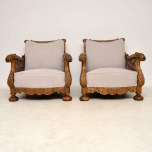 Pair of Antique Swedish Oak Bergere Armchairs