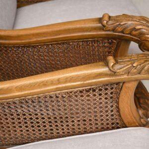 Pair of Antique Swedish Oak Bergere Armchairs