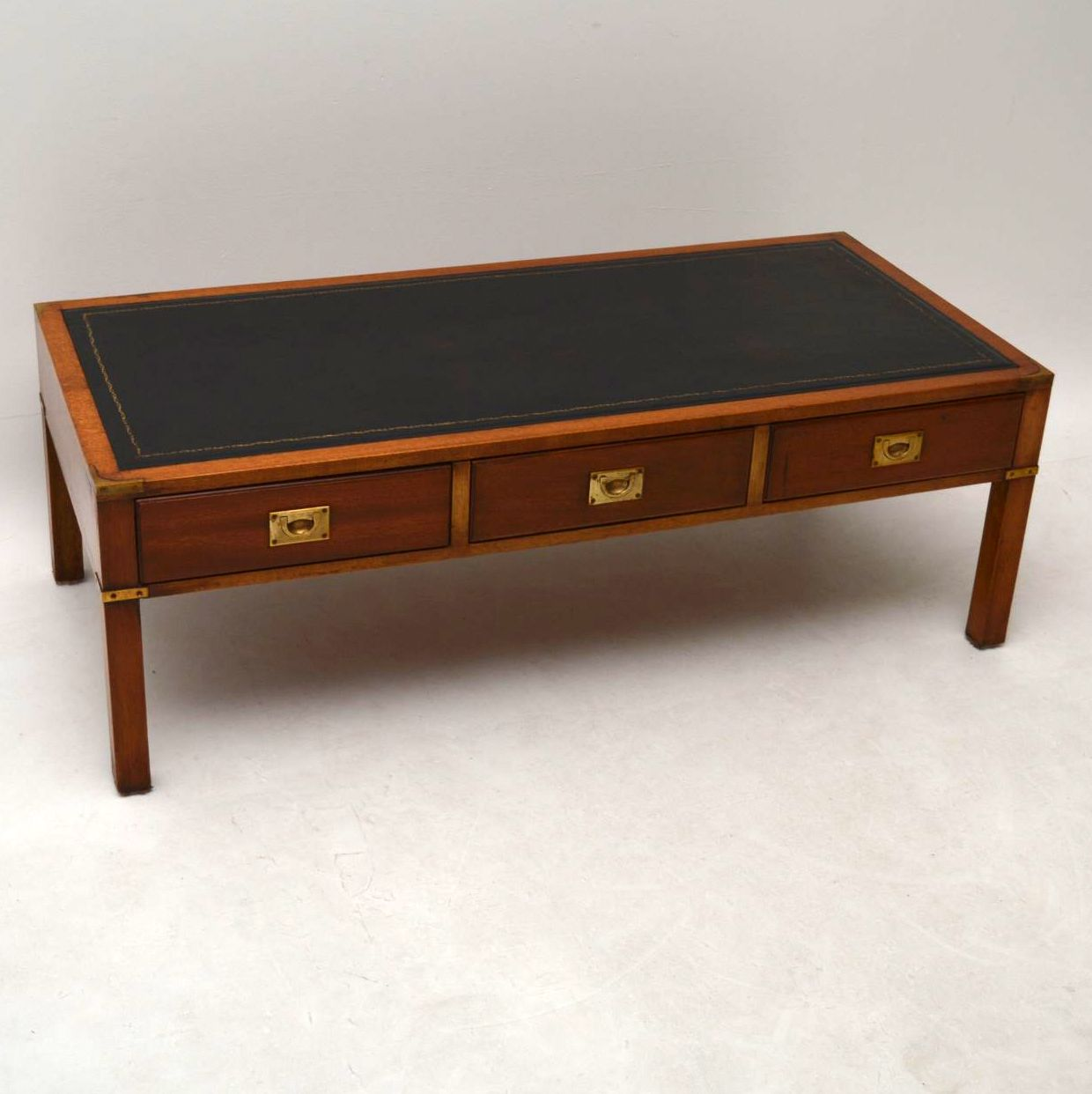 Antique Campaign Style Mahogany Coffee Table