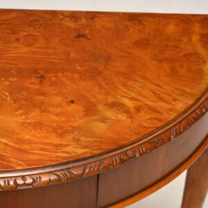 Antique Queen Anne Style Burr Walnut Console Table