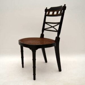 Pair of Antique Decorated Ebonised Side Chairs