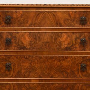 Antique Burr Walnut Queen Anne Style Chest of Drawers