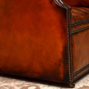 Antique Georgian Style Deep Buttoned Leather Porters Armchair