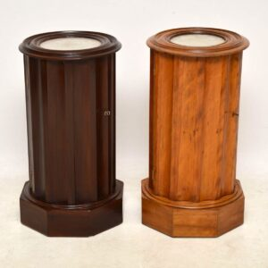 Antique Victorian Mahogany Marble Top Cylindrical Pot Cupboard