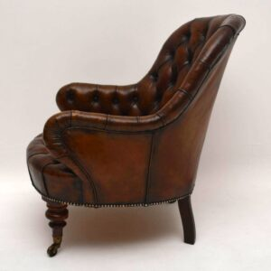 Antique Victorian Deep Buttoned Leather Armchair
