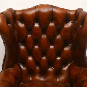 Large Antique Leather Wing Back Armchair