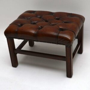 Antique Deep Buttoned Leather Stool