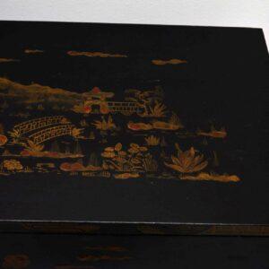 Antique Chinoiserie Ebonised & Gilt Commode