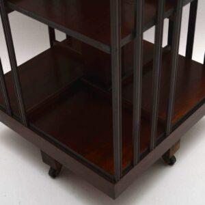 Antique Georgian Style Inlaid Mahogany Revolving Bookcase