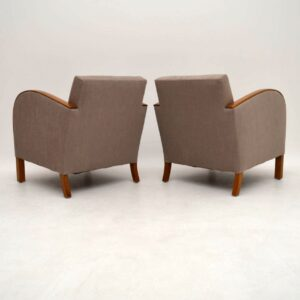 Pair of Swedish Art Deco Satin Birch Armchairs