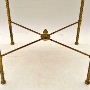 Antique French Brass & Marble Two Tier Table